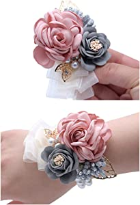 Flonding Rose Wedding Wrist Corsage and Boutonniere Set Party Prom Hand Ribbon Flower Suit Decor (Champagne Pink)