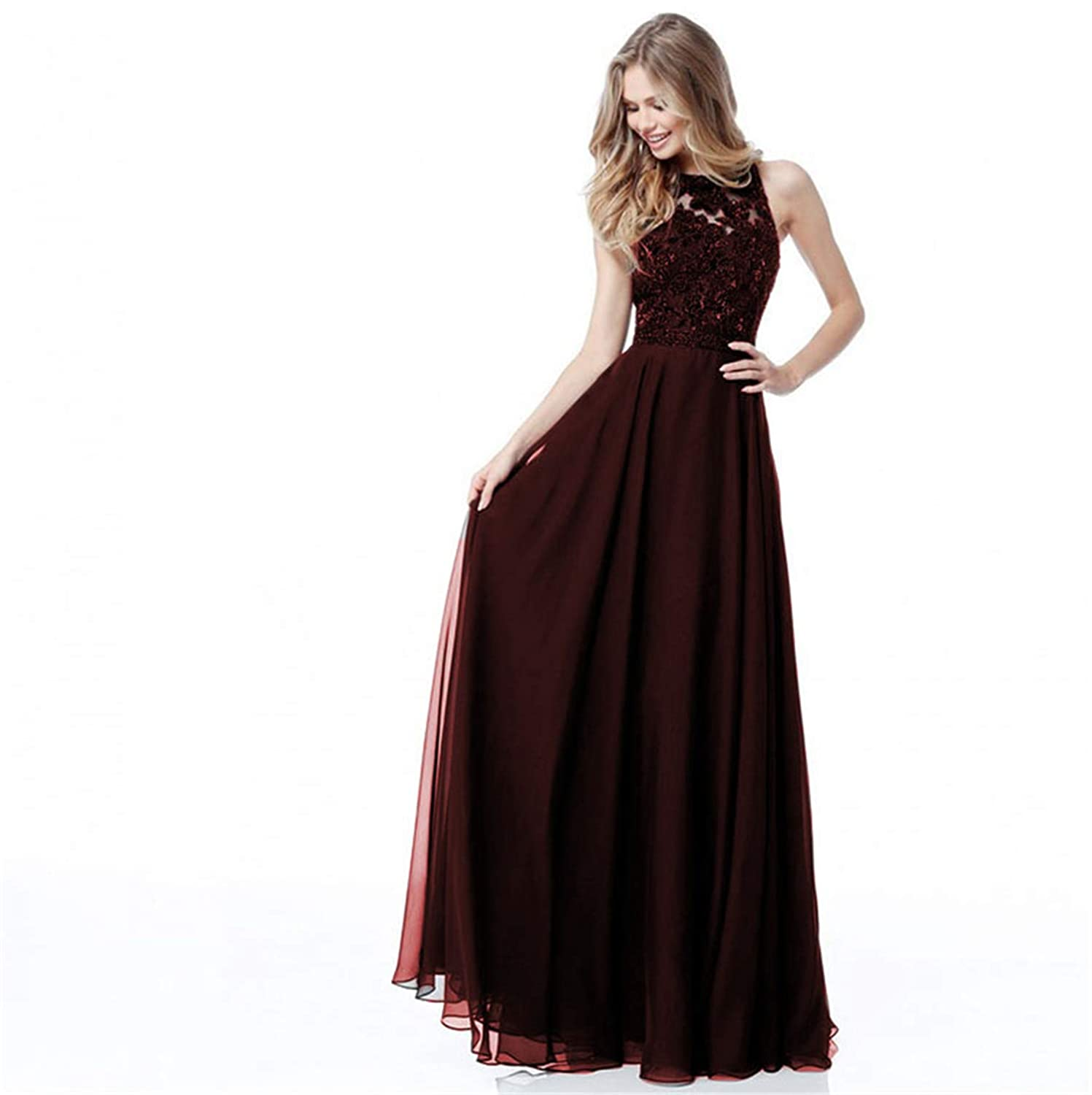 Burgundy Ruiyuhong Women's Sexy Backless Bridesmaid Dresses Long Wedding Party Gown