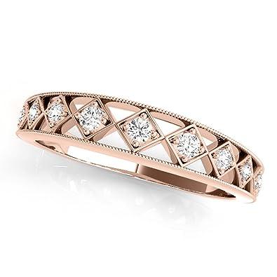 0d147ba01fd57 Amazon.com: MauliJewels 0.10 Carat Elegant Diamond Wedding Band in ...
