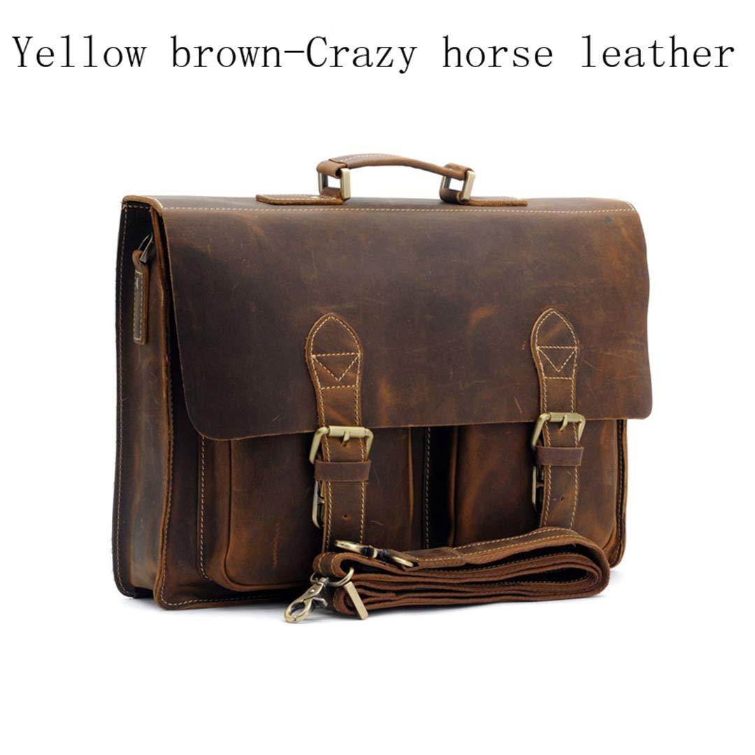 Men/'s Vintage Crazy Horse Leather shoulder Messenger bag Briefcase laptop bags