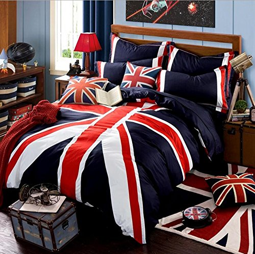 Square Comforter Union (Newrara Union Jack Duvet Cover Set Queen Size 4 Pieces 100% Cotton)