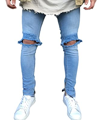 066def6506a5 XARAZA Men s Stretchy Ripped Skinny Pencil Jeans Tapered Leg Denim Pants  (US 27 Tag