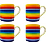 Rainbow Mug Set Hand Painted in Thailand for Hot Chocolate, Tea and Coffee ~ Small