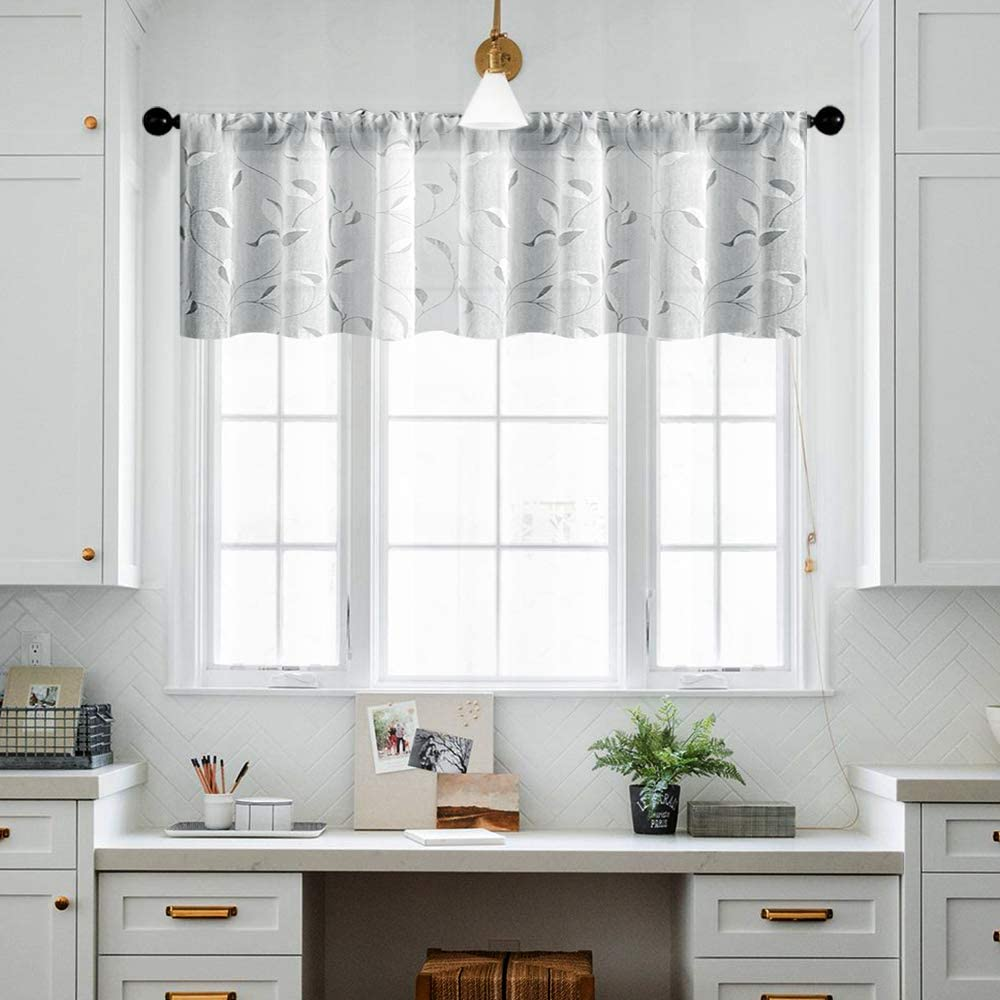 MRTREES Sheer Curtain Valances 16 inches Long Grey Valance Curtain Living Room Linen Textured Gray Leaves Printed Bedroom Leaf Print Rod Pocket Window Treatment 1 Panel