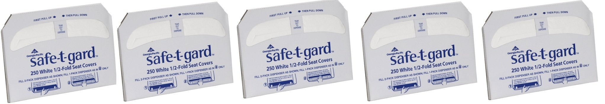 Georgia-Pacific Safe-T-Gard 47052 1/2-Fold Toilet Seat Cover, 17.44'' L X 14.5'' W - White mkXHdU, 5 Pack (250 per Pack)