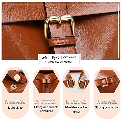 SAMSHOWME Shoulder Bag Brown Small Fashion Simple Vintage Travel Casual Backpack Simple Daypack Brown Leather PU Women r7fAqr