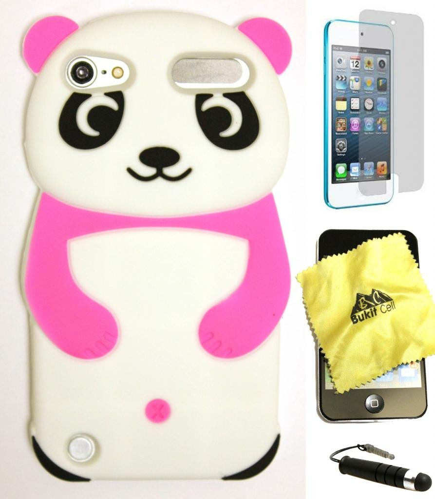 BUKIT CELL (TM) HOT PINK Cute Panda 3D Cartoon Silicone Case for IPOD TOUCH 5TH / 6TH GENERATION + BUKIT CELL (TM ) Cloth +Screen Protector + METALLIC STYLUS PEN [bundle - 4 items: case, cloth, stylus pen and screen protector]