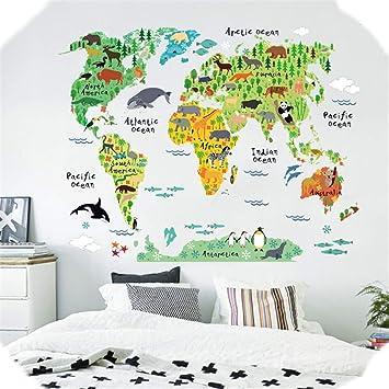 Vneirw Wandtattoo Weltkarte Tiere Tierweltkarte Wandtattoo