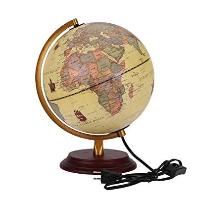 Illuminated World Globe with Wooden Stand, Built in LED for Illuminated Night View Antique Globe, Rotating Full Earth Geography Educational - for Kids, Adults, School, Home, Office (Multicolour): Kitchen & Dining