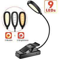 LENCENT 9 LED Book Light, 3 Colors and 9 Brightness Modes (Warm & White LEDs) USB Rechargeable Clip Reading Light for…