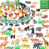 Jungle Animal Figures Toy Set - 53 Piece Plastic Mini Educational Jungle Animal Toys For Boys Girls Kids Toddlers Forest Small Animals Playset Cupcake Topper