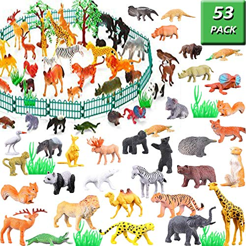 Plastic Jungle - Jungle Animal Figures Toy Set - 53 Piece Plastic Mini Educational Jungle Animal Toys For Boys Girls Kids Toddlers Forest Small Animals Playset Cupcake Topper