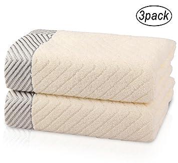 JQPQ 3Pcs Toallas de Mano Organic Cotton Guest Luxury Hotel SPA Toallas con Dibujos de Agua Set,Beige: Amazon.es: Deportes y aire libre
