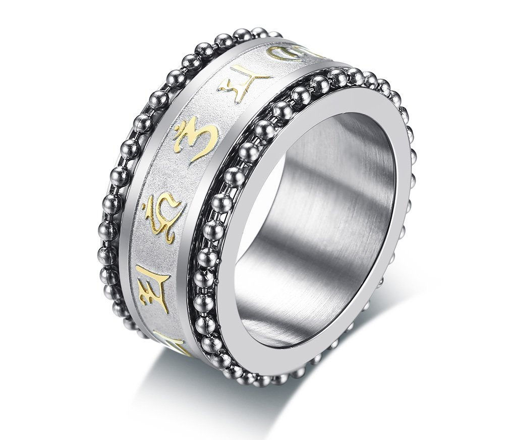 PJ Jewelry Stainless Steel Buddhist Mantra Om Mani Padme Hum Spinner Ring for Men Boy,Size 8-12