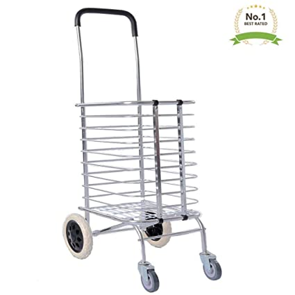 VDNSI 4 Wheel Personal Portable Aluminum Folding Shopping Cart Trolley with Wheel
