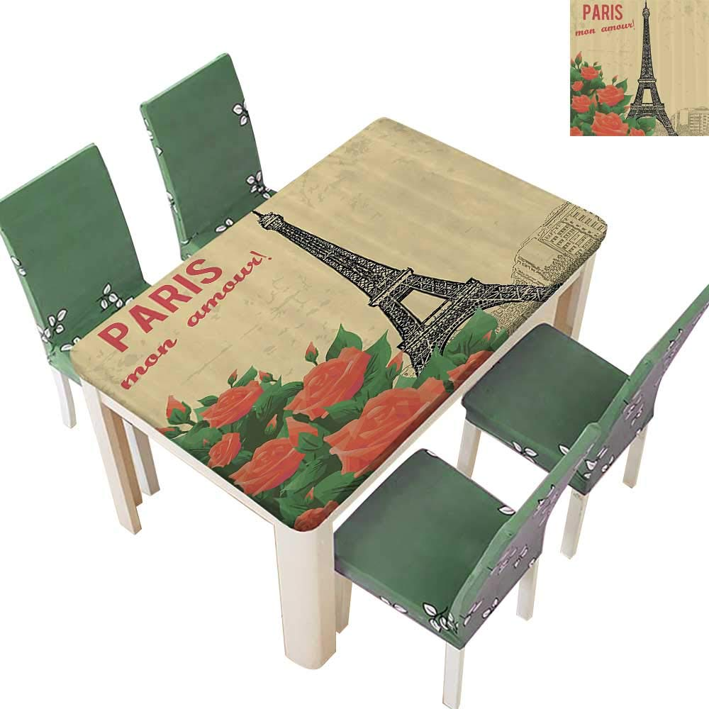 Printsonne Polyester Table Cloth Old Style Paris with Nostalgic Roses and Eiffel M Amour My Love Table 54 x 120 Inch