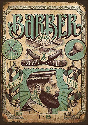Novelty Funny Sign Barber Vintage Metal Tin Sign Wall Sign Plaque Poster for Home Bathroom and Cafe Bar Pub, Wall Decor Car Vehicle License Plate Souvenir 11-20-2