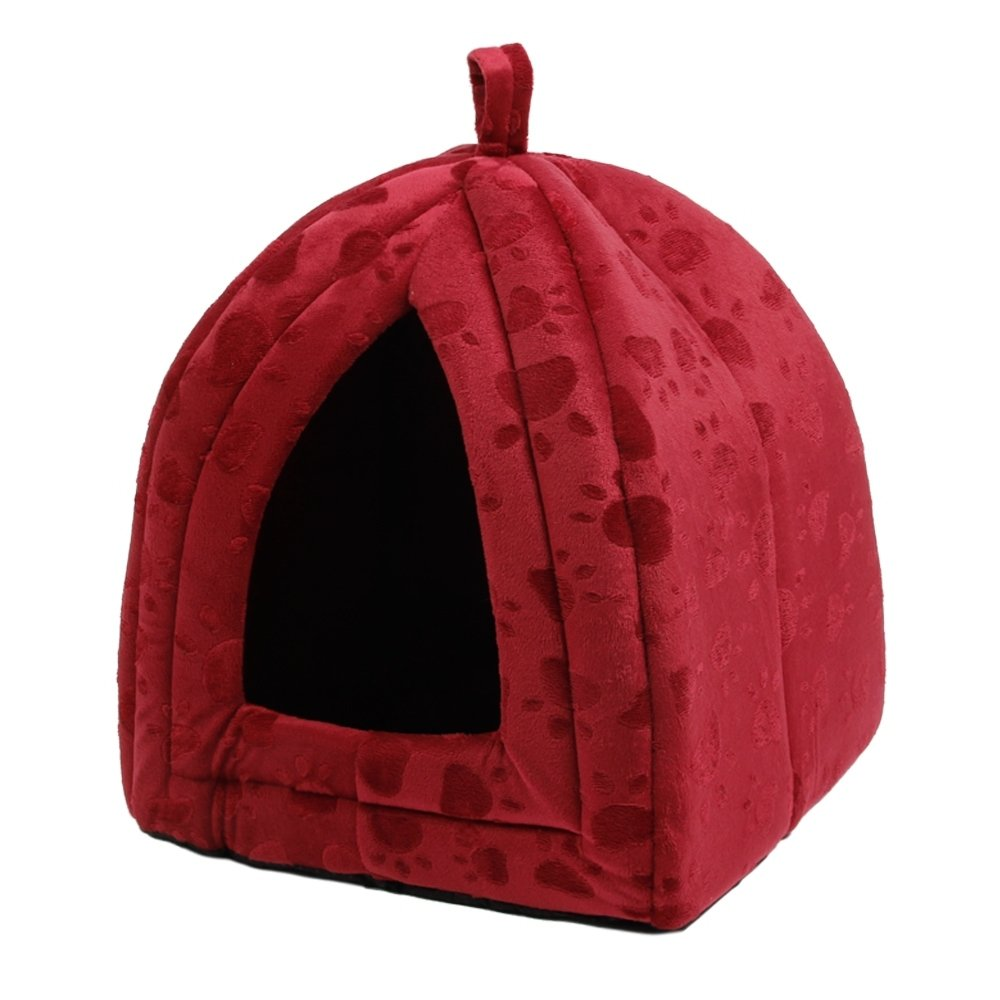 HBR Luxe chien chat caverne lit tente igloo pour animaux de compagnie avec de belles empreintes de pattes double usage lit pliable pour les chats petits chiens lapins ou des chiens de race de jouet cinq couleurs pour 4 saisons ( Couleur : Beige )