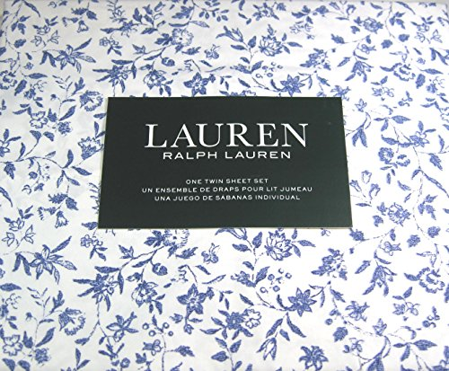 Lauren 3 Pc.Cottage Chic Floral Twin Sheet Set Blue and White 100% Cotton