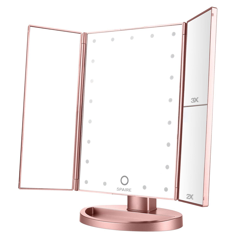 Spaire - specchio per trucco pieghevole, 3 livelli di ingrandimento 1X / 2X / 3X, con luce a LED e cavo USB, regolabile a 180° Pink