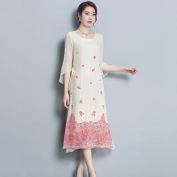 YAN Vestido de Mujer Temperamento de Vestir para Mujer Seda Vintage Mediano  Cheongsam 2018 Ropa de df0110cfec56