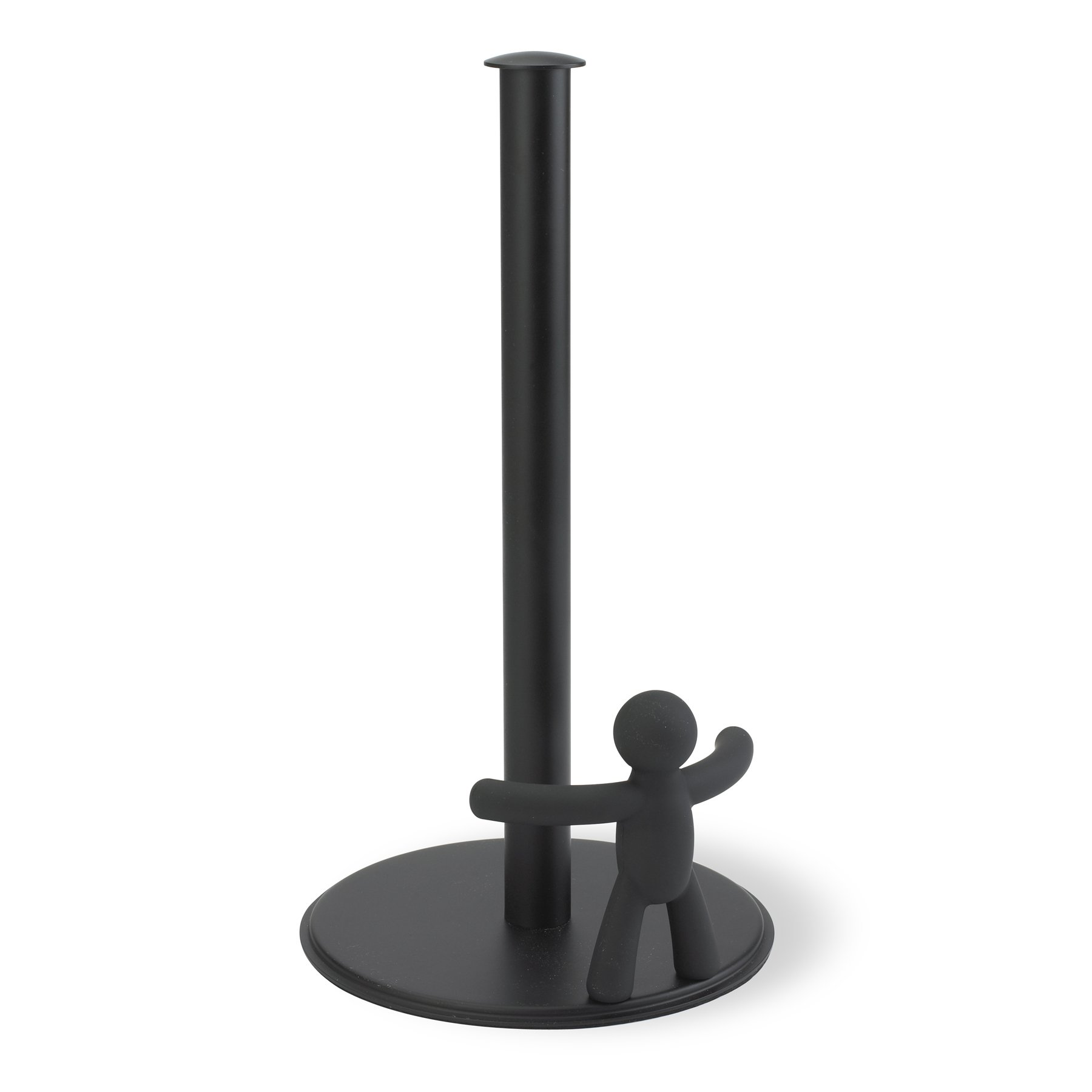Umbra Buddy Paper Towel Holder With Fun & Functional Design - Original Molded Soft Touch Black Kitchen Paper Tug - Provides One-Handed Tearing Keeps Paper Towels Handy & Tidy and Roll From Unraveling