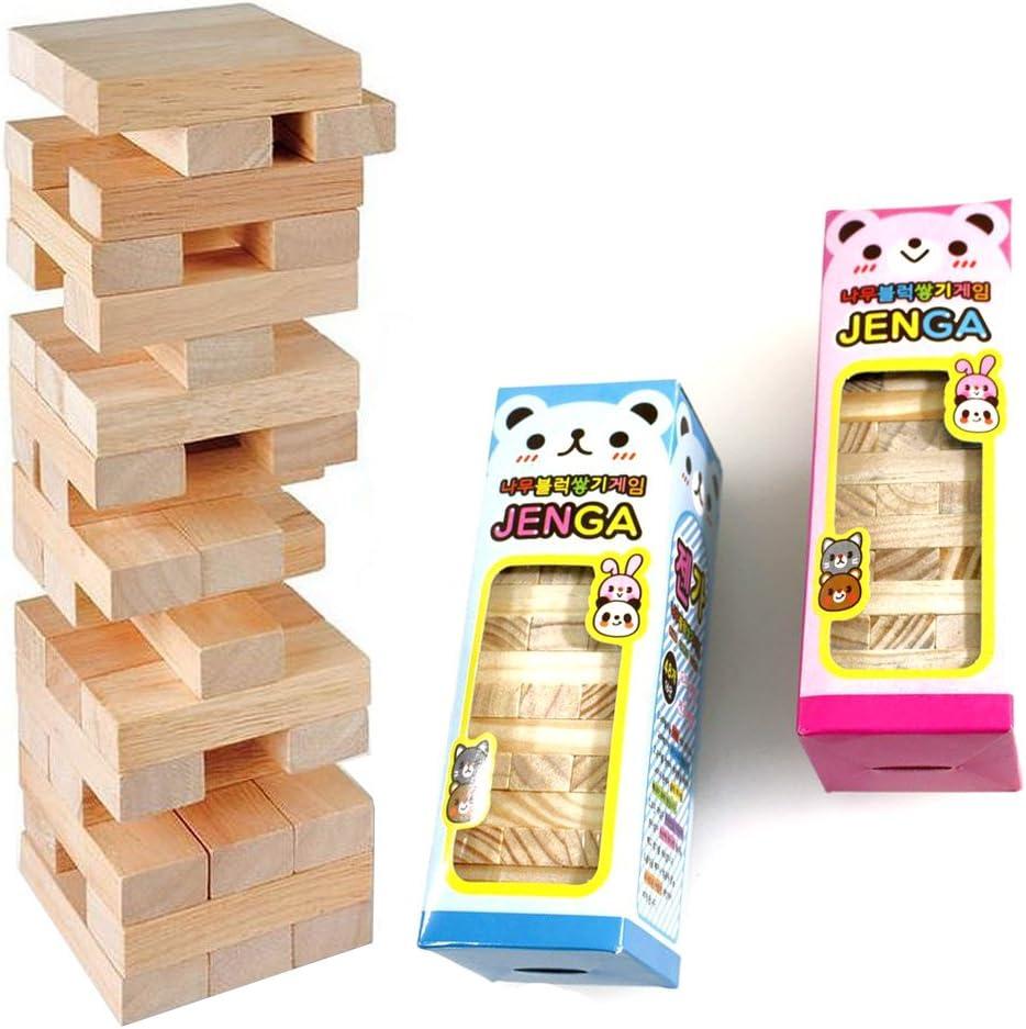 HW GLOBAL 2 Sets de 48 piezas madera torre madera bloque apilar bloques de madera/juego de dominó juego juguete de carreras/actividad nocturna familiar revoltijo torre regalo: Amazon.es: Bebé