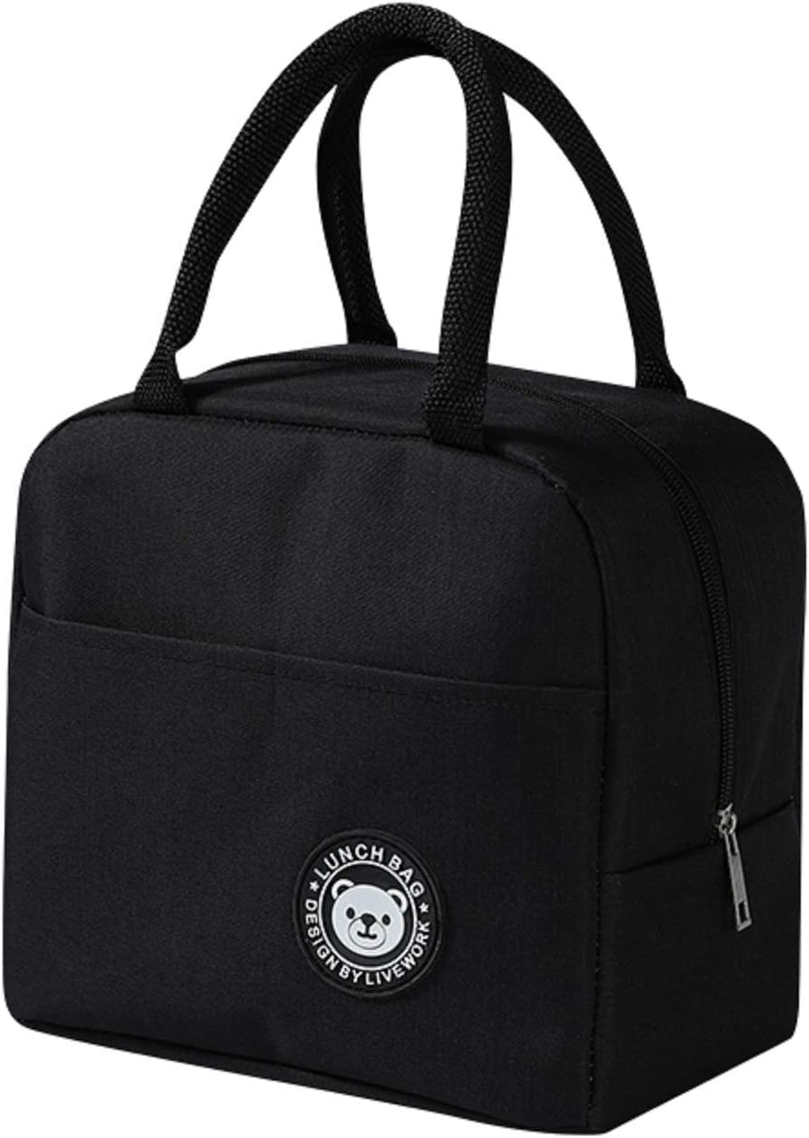 Black Bear Lunch Bags for Women, Portable Insulation Bags, Reusable Lunch Bags, Can be Used for Picnics, Work, etc. (Black Bear)