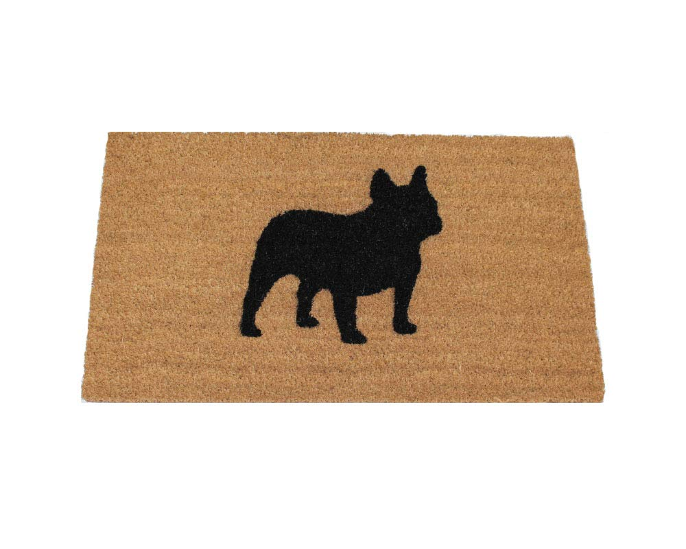 "UncommonDoormats French Bulldog Silhouette Doormat (18""x30""), Natural coir with black graphic"