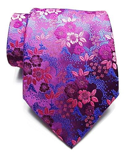 - Secdtie Men's Rose Red Purple Tie Floral Woven Silk Paisley Formal Necktie B04