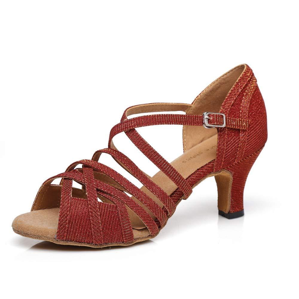 HCCY Scarpe da Ballo Latino Indoor a Tacco Alto di Moda Donna Rosso Scuro a Tacco Alto