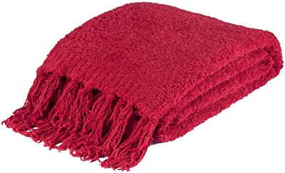 "K&N41 Knitted Throw Blanket Red Large Fringe Chenille Cozy Winter Cover 50""x 70"""