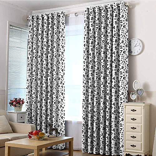 EwaskyOnline Thermal Insulating Blackout Curtains,Numbers Mathematics Multiplication Square Root Addition Subtraction Equations Monochrome,Energy Efficient, Room Darkening,W84x84L Black White]()