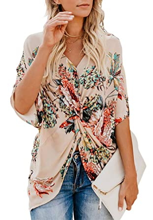 e8f04dcb149 ELF QUEEN Womens Floral Print Chiffon Shirt V-Neck Twist Casual Short  Sleeve Blouses Tops at Amazon Women s Clothing store