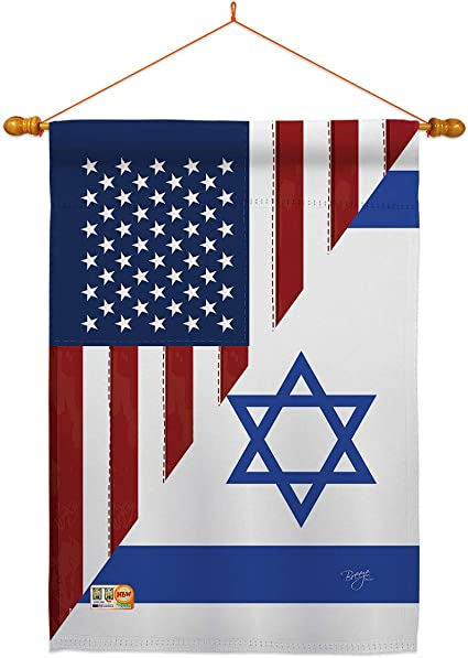 Amazon Com Us Friendship Israel Gf House Flag Dowel Set Regional Usa American Alliance World Country Particular Area Small Decorative Gift Yard Banner Made In 28 X 40 Garden Outdoor