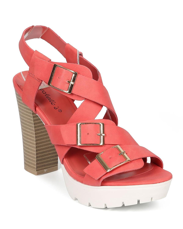 Women Leatherette Cross Buckle Ankle Heel Strap Lug Sole Chunky Heel Ankle CF79 - Grapefruit B00YZ2IT98 6 M US 4ccfb7