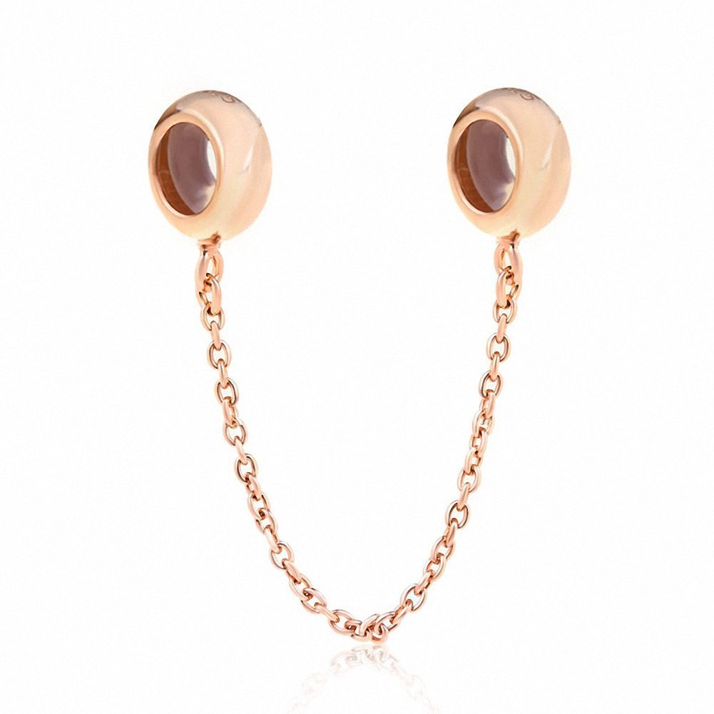 Xuthus Charms Rose Gold Rubber Stopper Safety Chain 925 Sterling Silver Elegant Charm Beads for European 3mm Bracelet to Send His Girlfriend a Gift