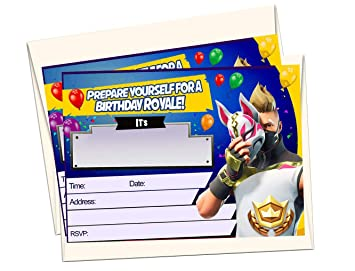 Amazon Com 12 Fortnite Birthday Invitations 12 5x7in Cards 12