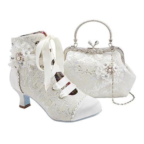 1ba1d6e81758e9 Joe Browns Ivory Wedding Bridal Hitched Low Mid Heel Shoes Boot and Handbag  (UK 4