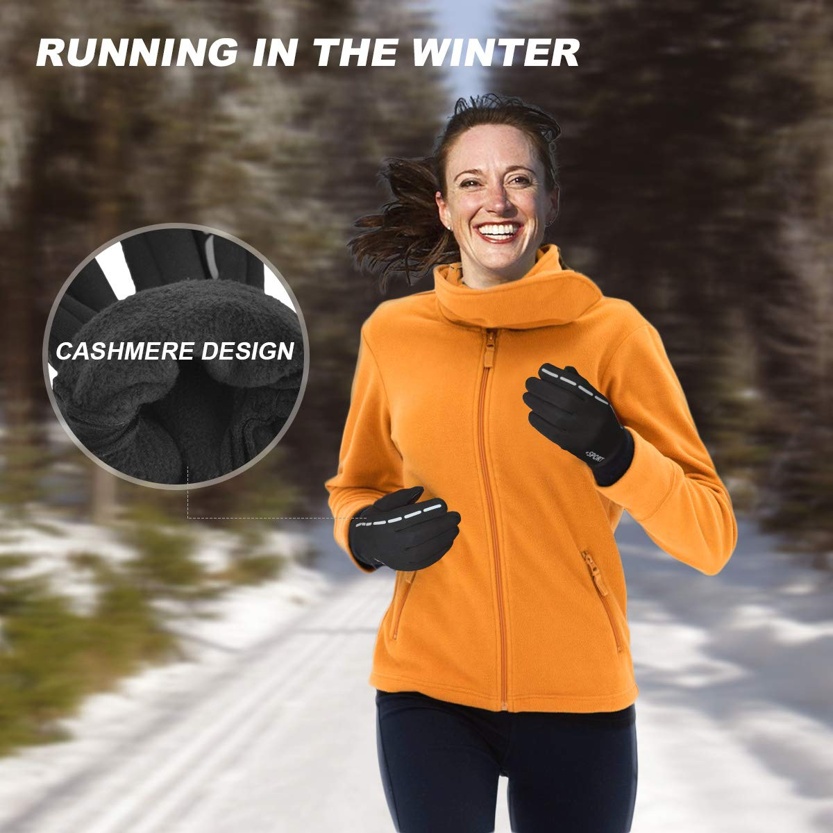 Reflective Design Running Gloves, Full Finger Touchscreen in Winter Outdoor Gel Bike Thin Gloves, Waterproof and Windproof Warm Gloves for Men Women