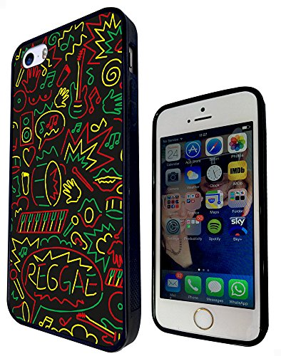 1097 - Cool Fun Reggae Bomb Rasta Music Drums Guitar Jamaican Weed Drums Design iphone 5 5S Fashion Trend Protecteur Coque Gel Rubber Silicone protection Case Coque - Noir