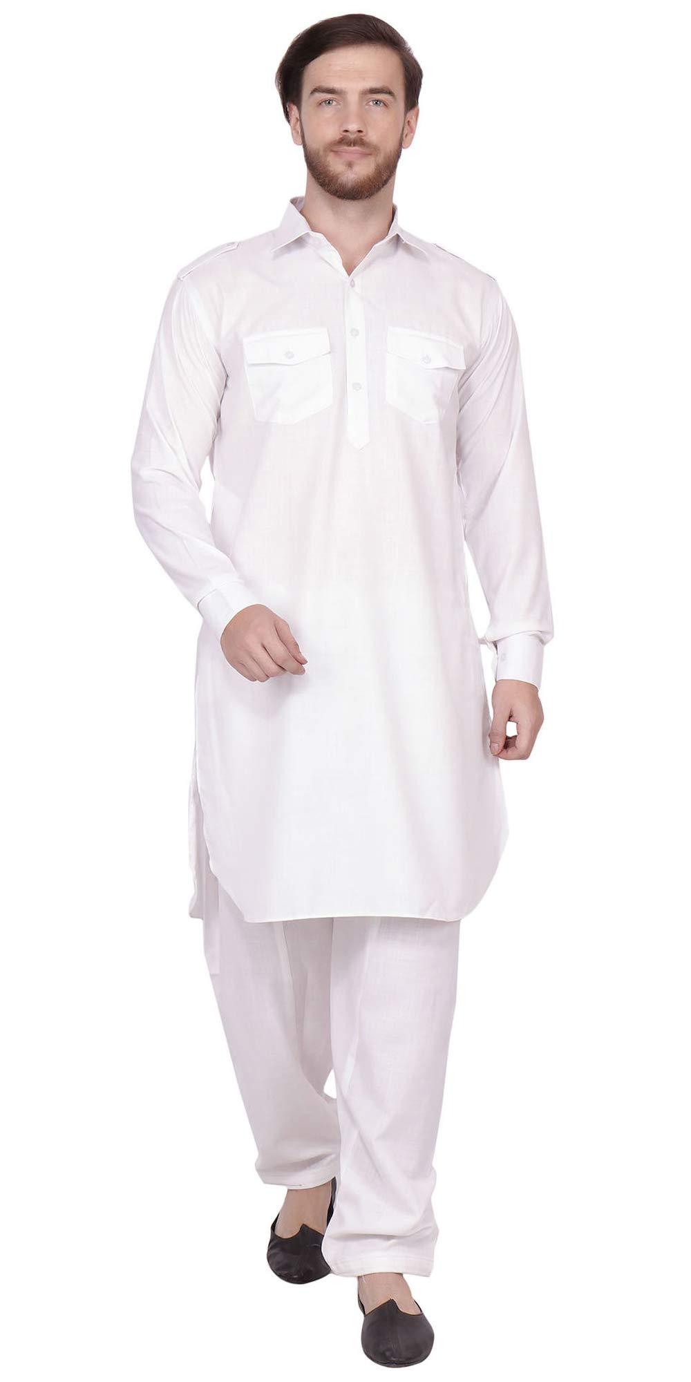 SKAVIJ Men's Tunic Cotton Pathani Kurta Pajama Set (X-Large, White)