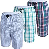 JINSHI Mens Lounge/Sleep Shorts Plaid Poplin Woven 3Pack Cotton