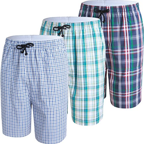 JINSHI Mens Lounge/Sleep Shorts Plaid Poplin Woven 3Pack Cotton by JINSHI