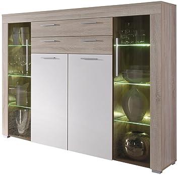 Credenza moderna Azalea, vetrina bianca o rovere,mobile soggiorno ...