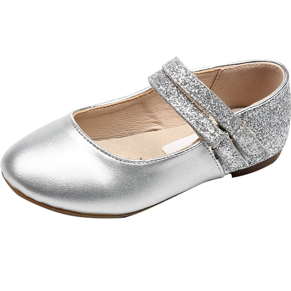 Mallimoda Girls Leather Flat Mary Jane Princess Dress Shoes Silver 1M US Little Kid