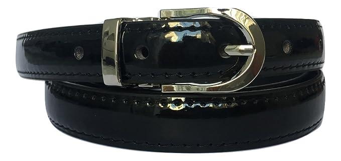 Coolorfool Ceinture femme noire vernis  réglable max 100 cm long - XS au XL    e0a23fca1f6