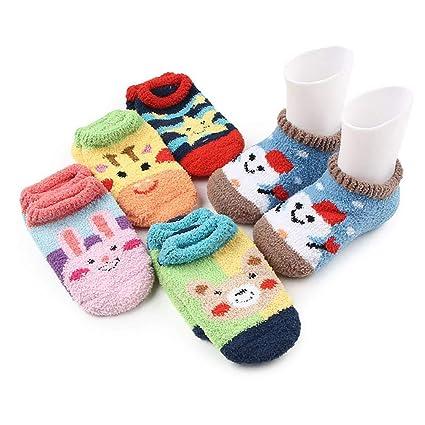 NACOLA - Calcetines de forro polar para bebé, 5 pares, antideslizantes, para niños