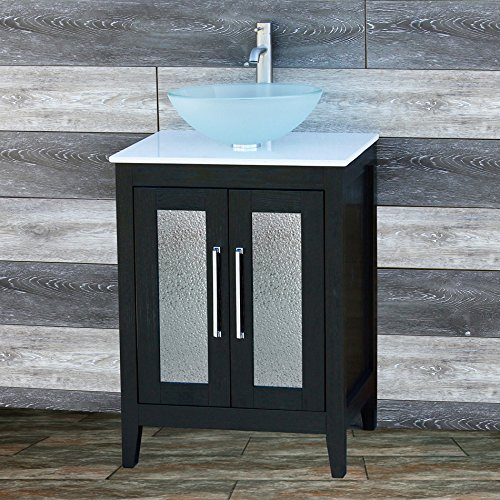 24'' Bathroom Vanity solid wood Cabinet CMS7068(included White Tech Stone (Quartz) +sink+ Faucet + drain) by ELIMAX'S