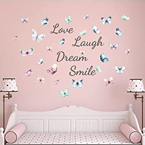 Supzone Love Laugh Wall Stickers Colorful Butterfly Inspirational Wall Decals Watercolor Sayings Words Wall Art Sticker for Living Room Bedroom Kitchen Home Decor